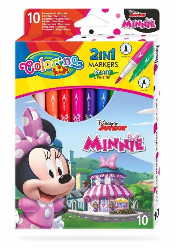 Flamastry dwustronne 10 kolorów Minnie Colorino 90669PTR
