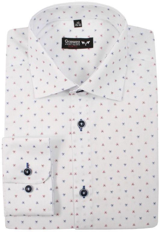 Biała Bawełniana Koszula, Długi Rękaw -GRZEGORZ MODA MĘSKA- Taliowana, Niebiesko-Czerwony Wzór KSDWGRZEG0026granczerw