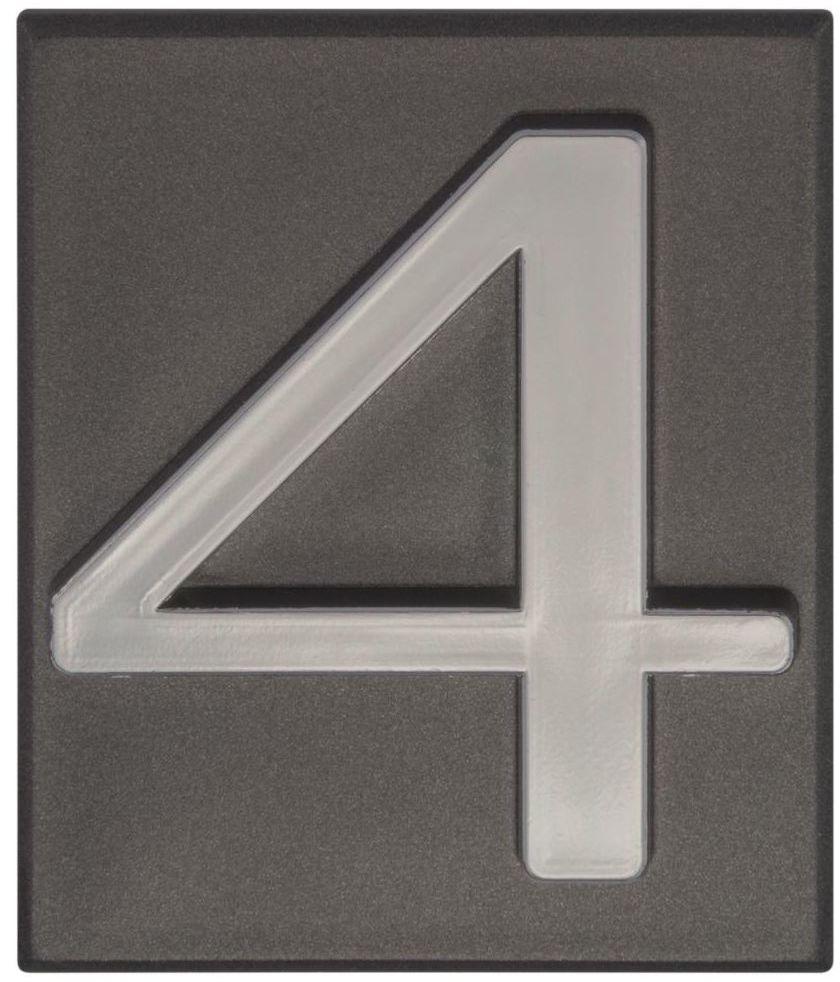 Cyfra 4 wys. 5 cm PVC grafitowa