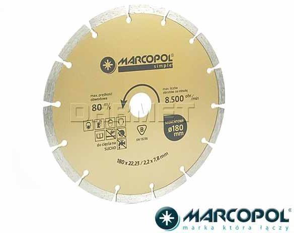 Tarcza diamentowa segmentowa, do cięcia na sucho, 180 x 22,23MM - MARCOPOL (Q786)