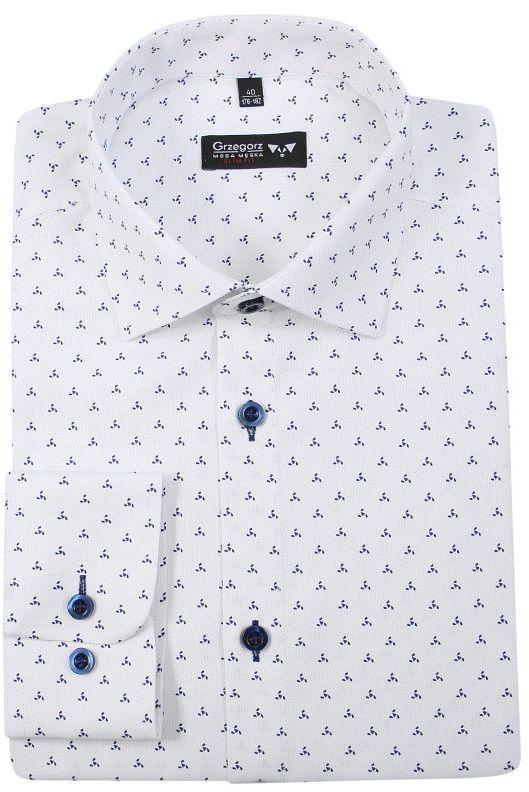 Biała Bawełniana Koszula z Długim Rękawem -GRZEGORZ MODA MĘSKA- Taliowana, w Niebieski Wzór KSDWGRZEG0024grannieb