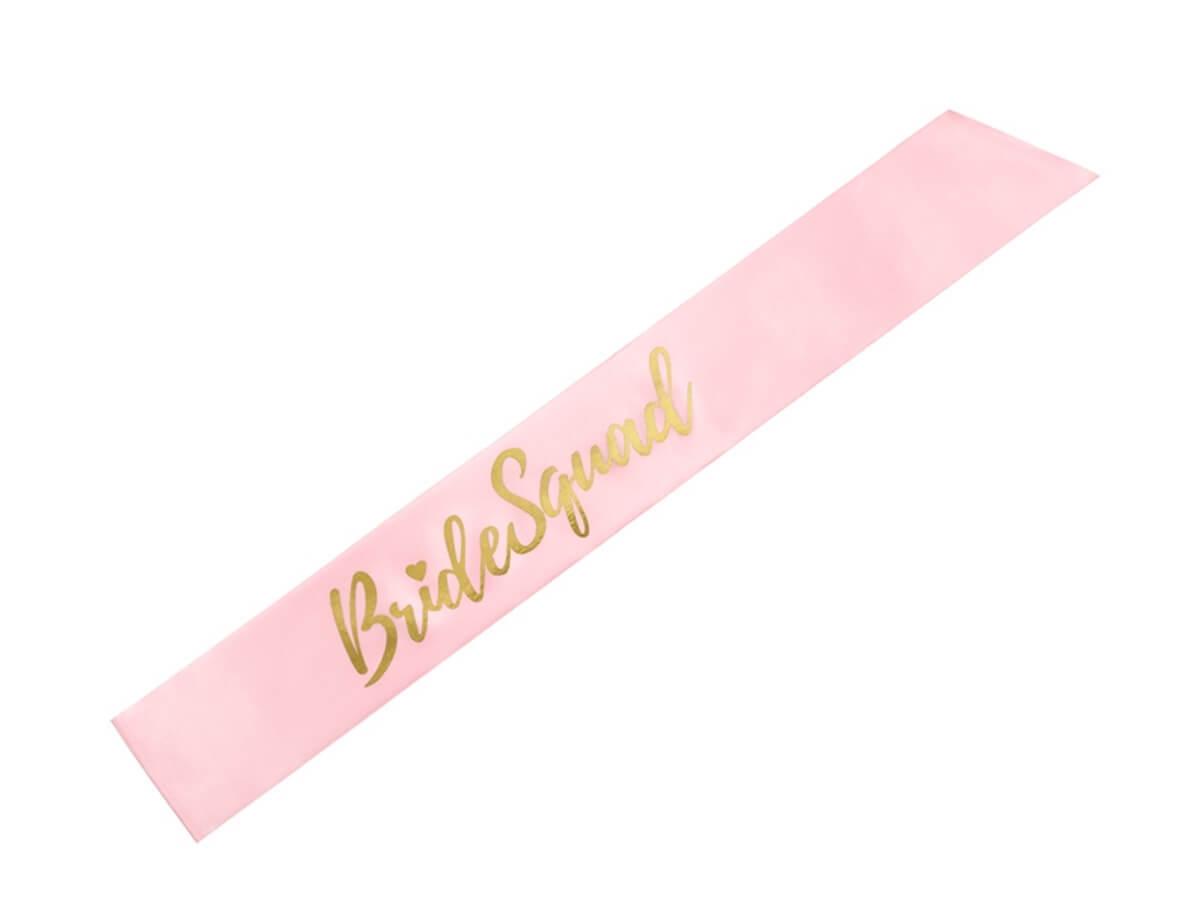 Różowa szarfa z napisem Bride Squad - 1 szt.