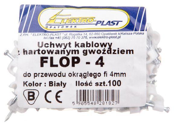 Uchwyt kablowy okrągły fi 4mm FLOP-4 27.04 /100szt./
