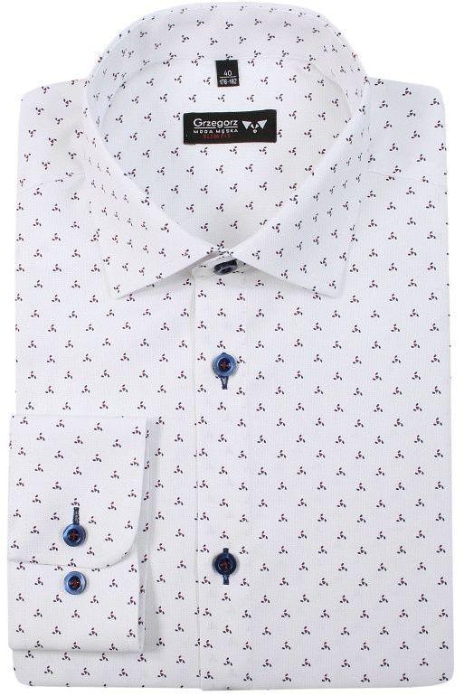 Biała Bawełniana Koszula, Długi Rękaw -GRZEGORZ MODA MĘSKA- Taliowana, w Drobny Wzór KSDWGRZEG0023granczerw