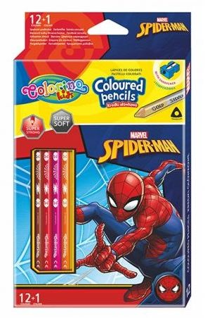 Kredki ołówkowe trójkątne 13 kolorów temperówka Spiderman Colorino 91789PTR
