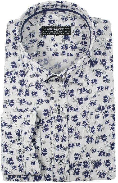 Biała Bawełniana Koszula z Długim Rękawem -GRZEGORZ MODA MĘSKA- Taliowana, w Granatowy Wzór KSDWGRZEG0022liscie