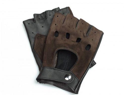 Męskie skórzane rękawiczki bez palców - czarno-brązowe welurowe