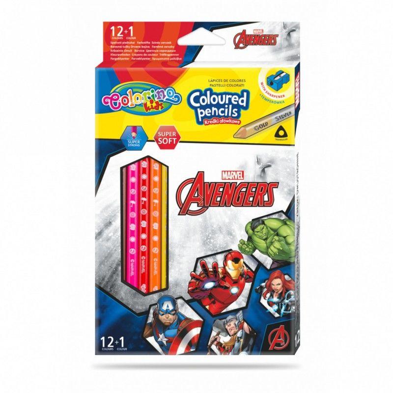Kredki ołówkowe trójkątne 13 kolorów temperówka Avengers Colorino 91390PTR