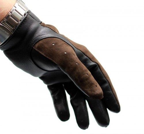 Rękawiczki samochodowe czarno brązowe welurowe