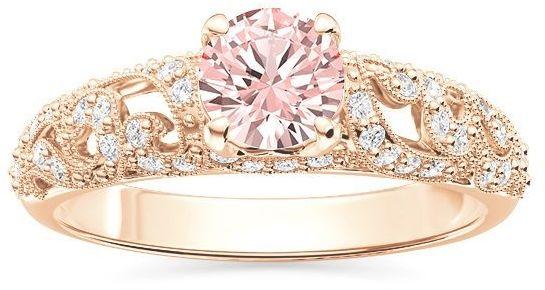Pierścionek zaręczynowy z różowego złota z morganitem i cyrkoniami bp-50p-c