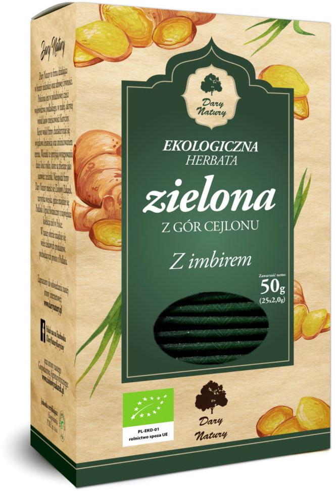 Herbata zielona z imbirem bio 25 x 2 g - dary natury