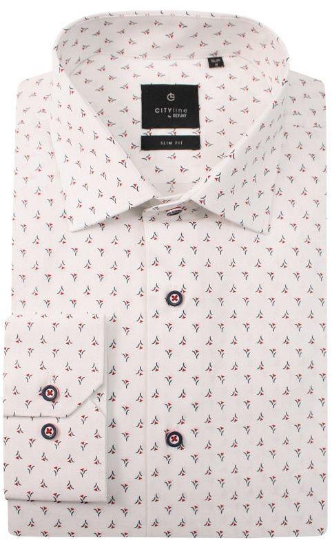 Biała Elegancka Koszula Męska z Długim Rękawem -REY JAY- Slimowana, Wzór Geometryczny KSDWRJrap319105SL