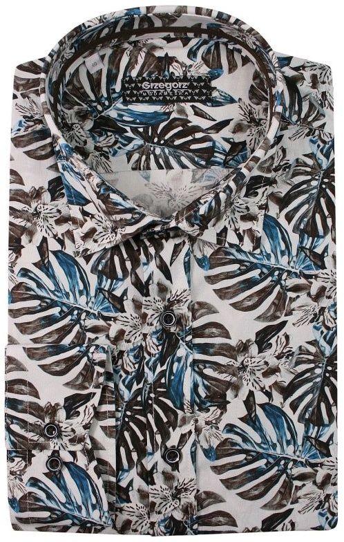 Bawełniana Koszula z Długim Rękawem -GRZEGORZ MODA MĘSKA- Taliowana, w Liście, Monstera KSDWGRZEG0020monstera