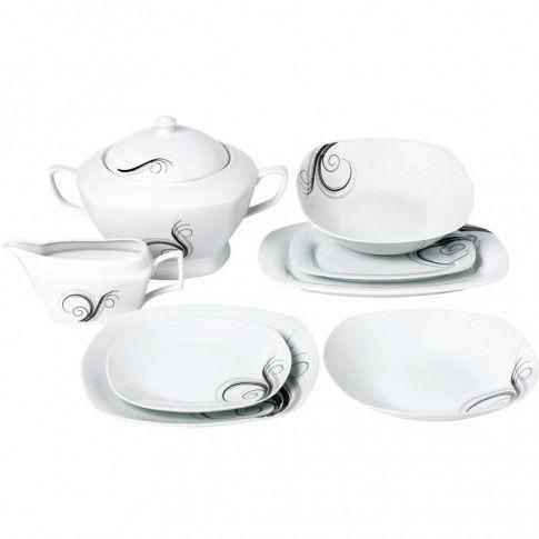 Serwis Obiadowy Porcelanowy Dolce Vita Biały Na 12 Osób (43 El.)