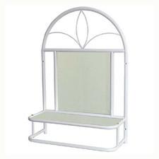 Półka metalowa z lustrem biała