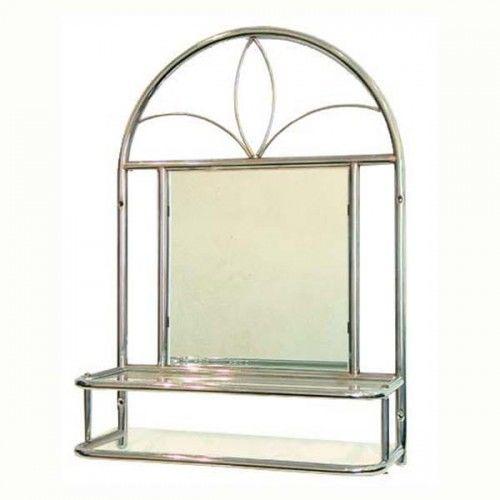 Półka metalowa z lustrem srebrna