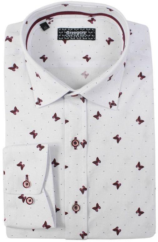 Biała Bawełniana Koszula, Długi Rękaw -GRZEGORZ MODA MĘSKA- Taliowana, w Czerwone Motyle KSDWGRZEG0017czerwmotyl