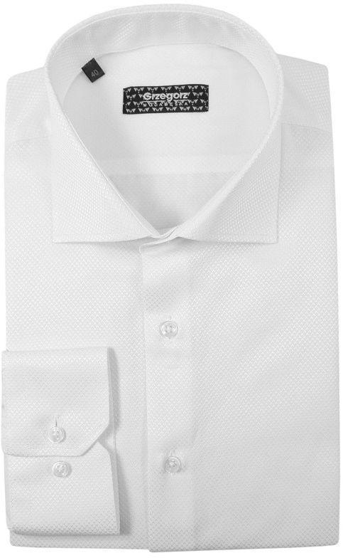 Biała Bawełniana Koszula z Długim Rękawem -GRZEGORZ MODA MĘSKA- Taliowana, Tłoczony Wzór KSDWGRZEG0016bialawzor