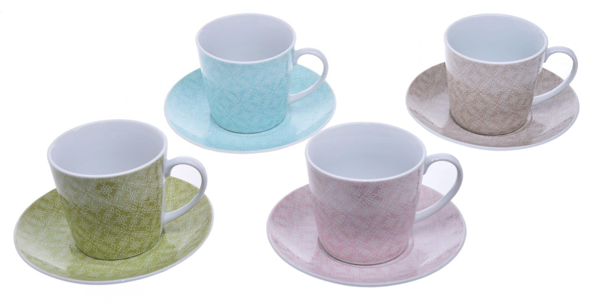 Kpl. 4 kolorowych filiżanek z porcelany