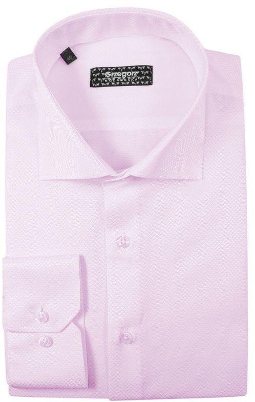Różowa Bawełniana Koszula, Długi Rękaw -GRZEGORZ MODA MĘSKA- Taliowana, Tłoczony Wzór KSDWGRZEG0015rozowa
