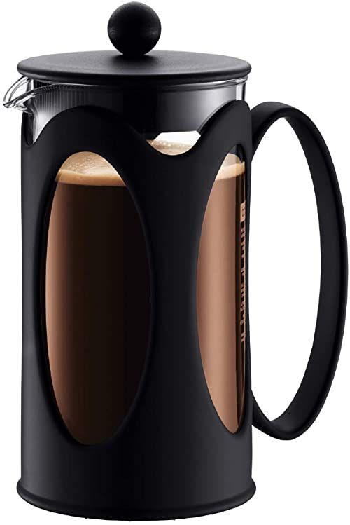 Bodum 10682-01 Kenia French Press ekspres do kawy, szkło borokrzemowe - 3 filiżanki (0,35 l), czarny