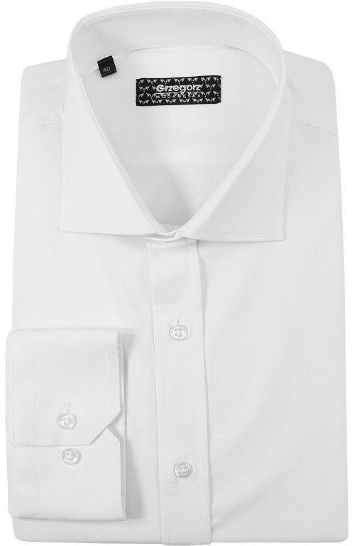 Biała Bawełniana Koszula, Długi Rękaw -GRZEGORZ MODA MĘSKA- Taliowana, Elastyczna, Rozciągliwa KSDWGRZEG0014biala