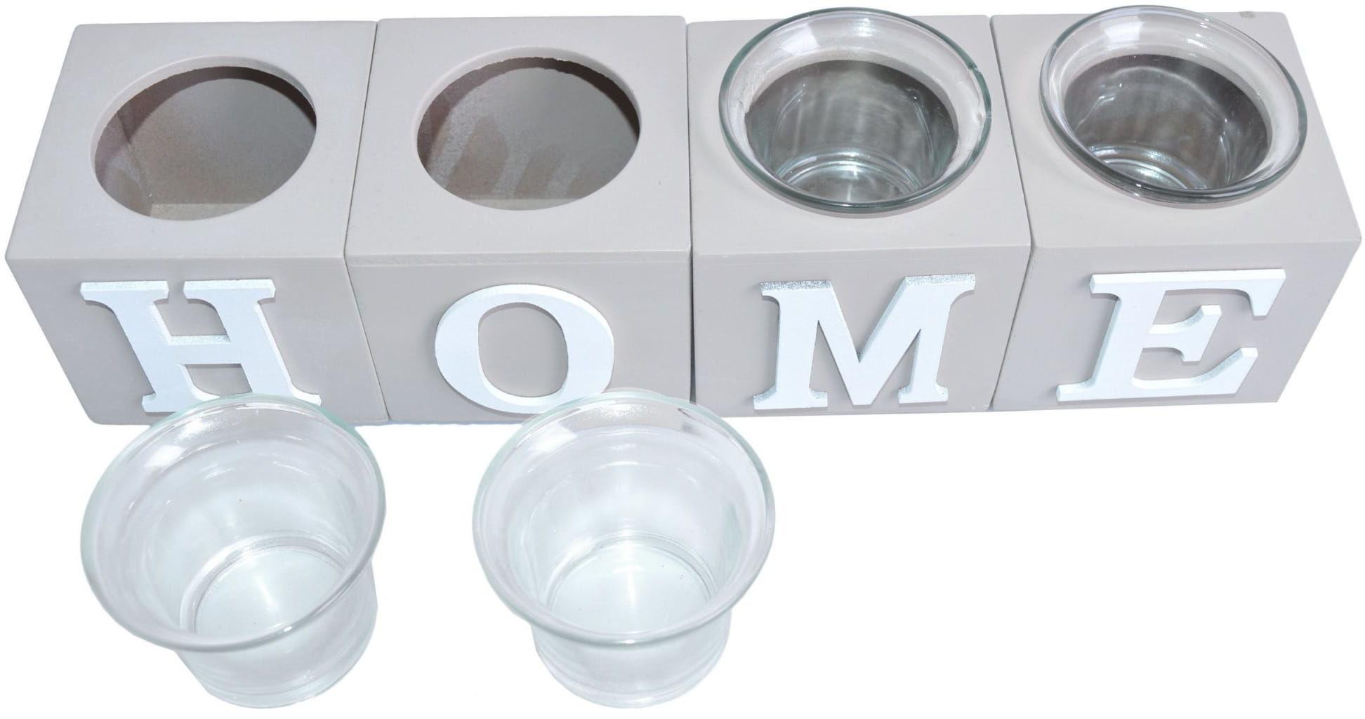 Kpl. 4 szklanych świeczników z napisem