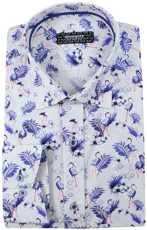 Biała Bawełniana Koszula, Długi Rękaw -GRZEGORZ MODA MĘSKA- Taliowana, w Niebieskie Flamingi KSDWGRZEG0013flaming
