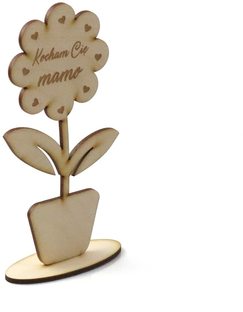 Drewniana dekoracja kwiat Kocham Cię mamo