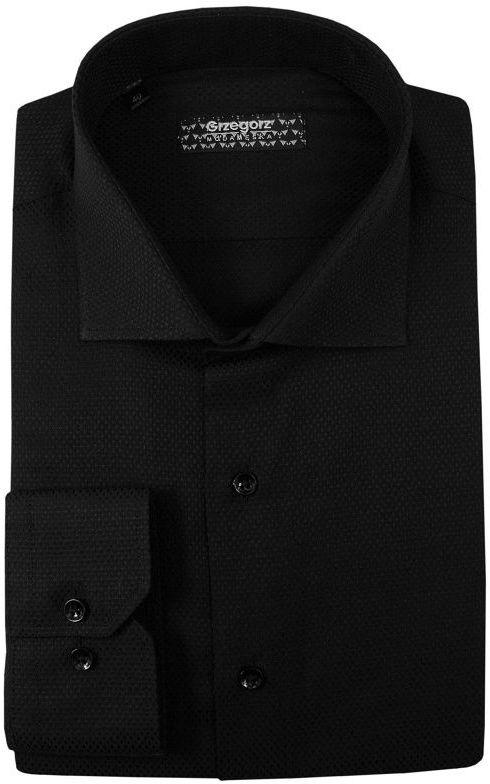 Czarna Bawełniana Koszula z Długim Rękawem -GRZEGORZ MODA MĘSKA- Taliowana, Tłoczony Wzór KSDWGRZEG0012czarna