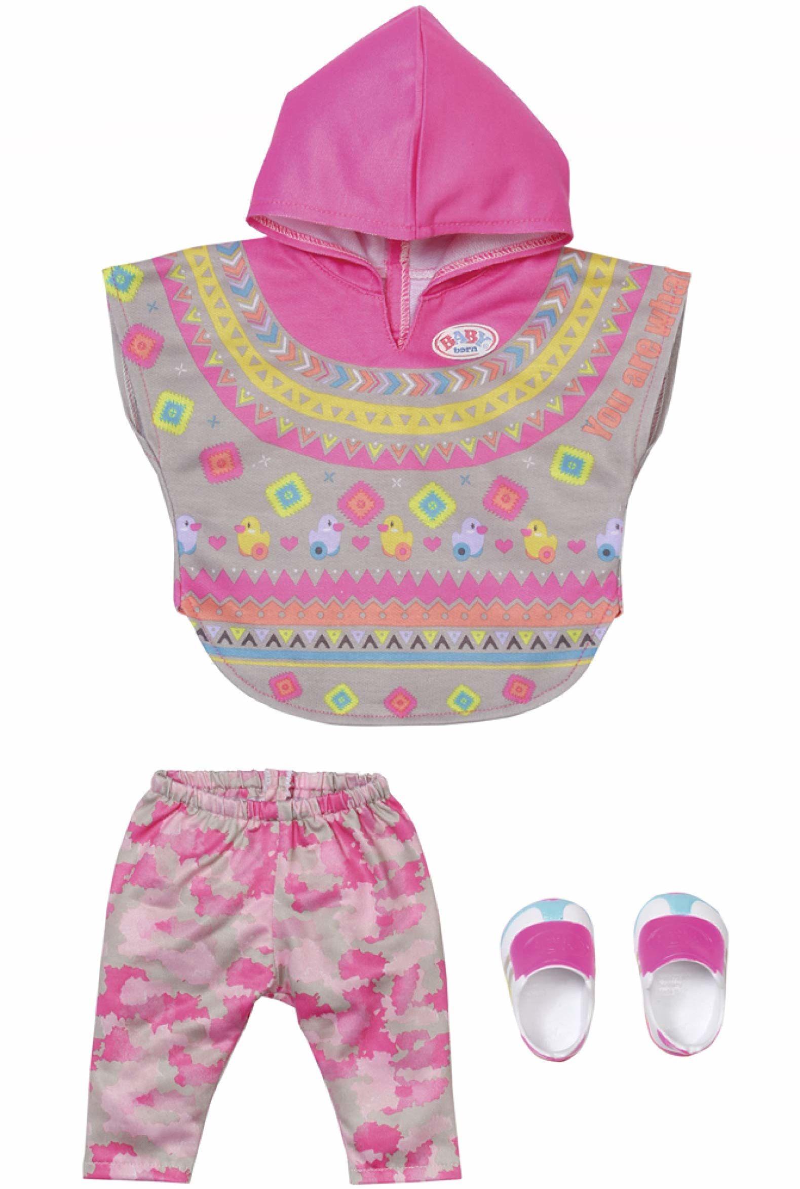 BABY born Deluxe modne ponczo dla lalki 43 cm - łatwe dla małych rąk, kreatywna zabawa promuje empatię i umiejętności społeczne, dla małych dzieci od 3 lat i więcej - zawiera ponczo, spodnie i buty