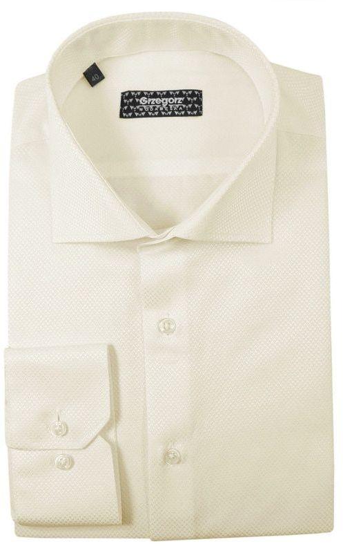 Beżowa Bawełniana Koszula z Długim Rękawem -GRZEGORZ MODA MĘSKA- Taliowana, Kremowa KSDWGRZEG0011bez