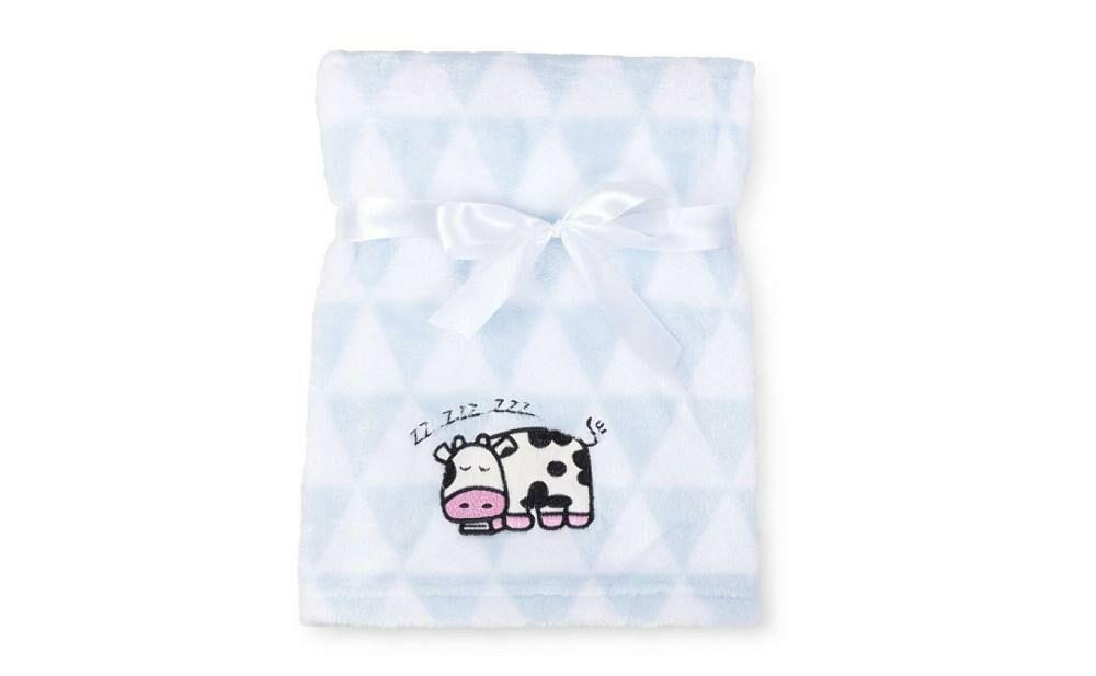 Kocyk dziecięcy 75x100 Ricco błękitny biały z mikrofibry z haftem aplikacją krowa