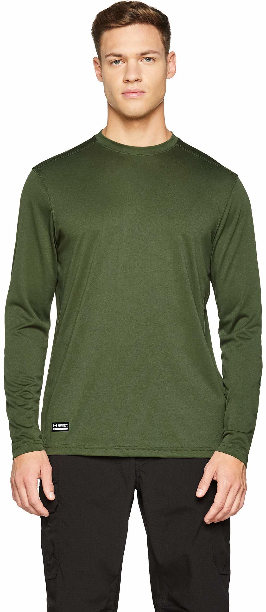Under Armour męski T-shirt sportowy wykonany z technologią antyzapachową, odzież na siłownię z wygodnym dopasowaniem UA TAC Tech koszulka z długim rękawem Marine Od Green/None L