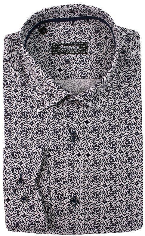 Granatowa Bawełniana Koszula z Długim Rękawem -GRZEGORZ MODA MĘSKA- Taliowana, Geometryczny Wzór KSDWGRZEG0010granbiala
