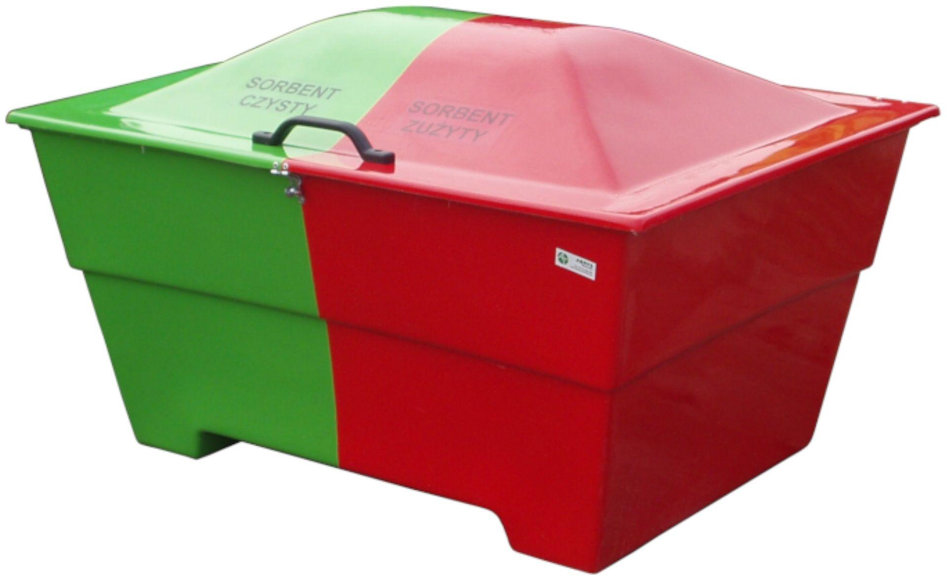 Dwukomorowy pojemnik na sorbent, odpady niebezpieczne 450 l