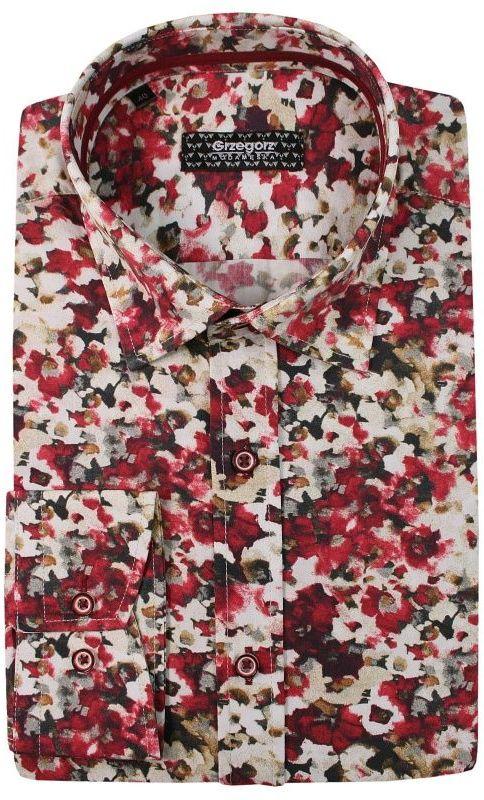 Czerwona Kwiecista Bawełniana Koszula z Długim Rękawem -GRZEGORZ MODA MĘSKA- Taliowana KSDWGRZEG0009czerwkwiaty