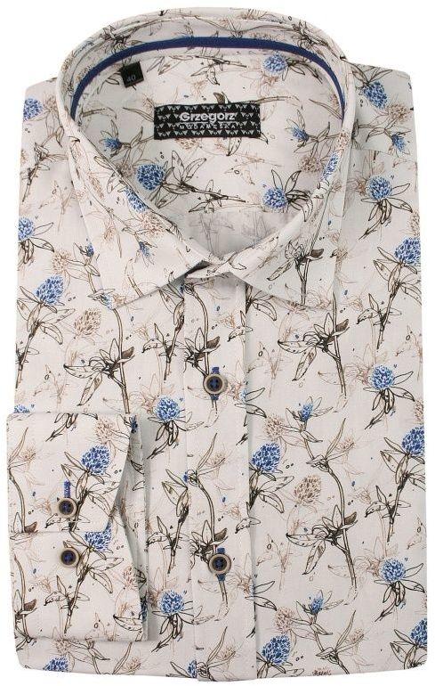 Biała Bawełniana Koszula z Długim Rękawem -GRZEGORZ MODA MĘSKA- Taliowana, w Beżowe Kwiaty KSDWGRZEG0008bezkwiaty
