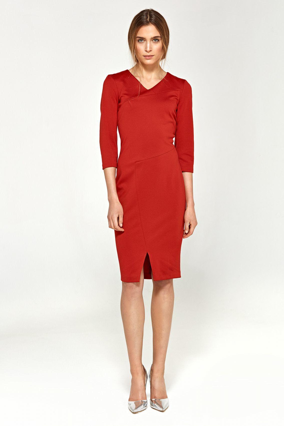 Sukienka z dzianiny - czerwony - S96