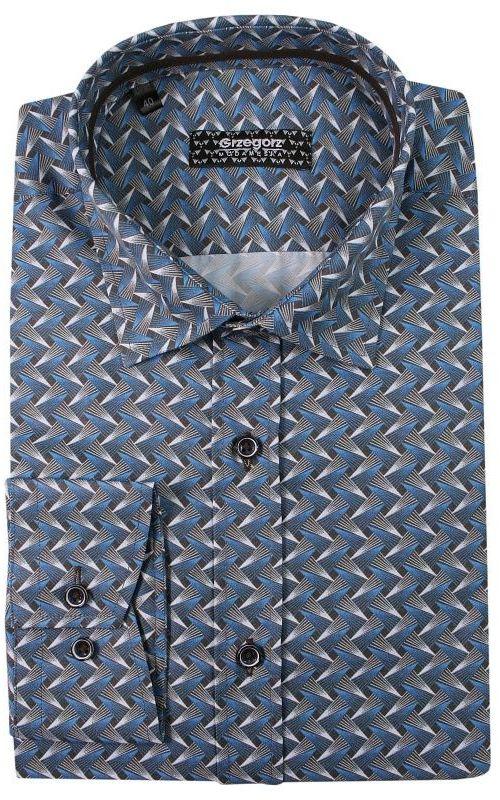 Granatowo-Szara Bawełniana Koszula z Długim Rękawem -GRZEGORZ MODA MĘSKA- Taliowana, Geometryczna KSDWGRZEG0007granszara
