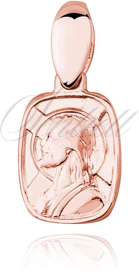 Srebrny pozłacany medalik jezus chrystus - różowe złoto