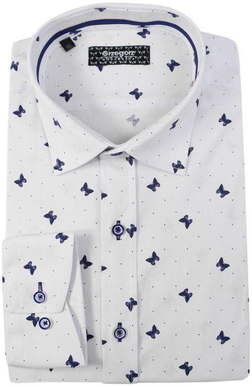 Biała Bawełniana Koszula z Długim Rękawem -GRZEGORZ MODA MĘSKA- Taliowana, w Niebieskie Motyle KSDWGRZEG0006niebmotyl
