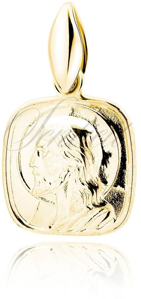 Srebrny pozłacany medalik jezus chrystus