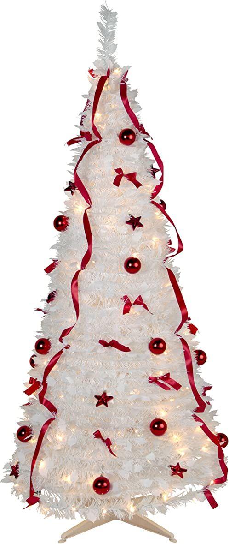 """Dekoracyjna choinka LED """"Pull-Up Tree"""", ok. 185 cm x 85 cm, z 144 diodami LED w kolorze ciepłej bieli z czerwoną dekoracją, z 8 funkcjami, składana"""