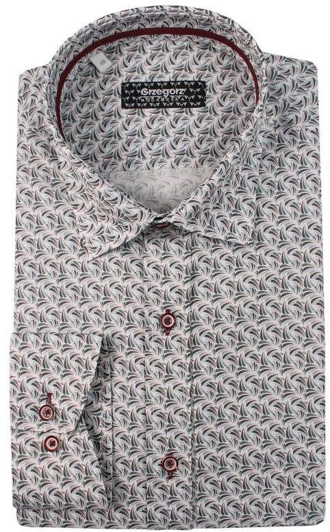 Szaro-Zielona Bawełniana Koszula z Długim Rękawem -GRZEGORZ MODA MĘSKA- Taliowana, Wzór Geometryczny KSDWGRZEG0004zielszara