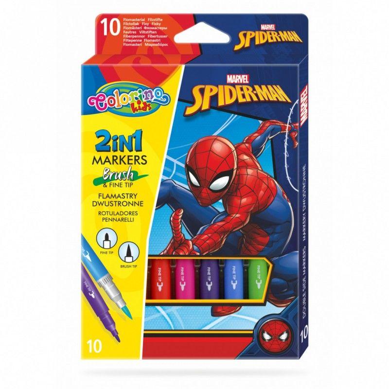Flamastry dwustronne 10 kolorów Spiderman Colorino 91833PTR