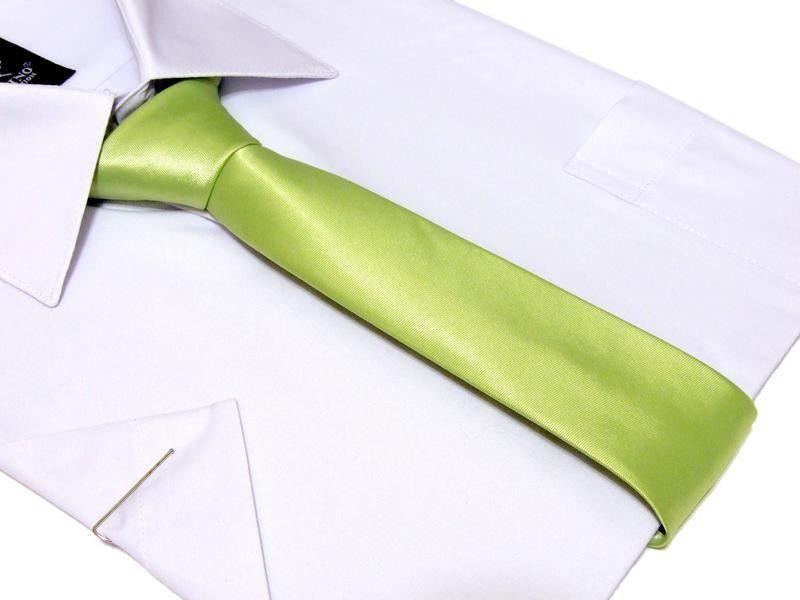 Wąski KRAWAT-ŚLEDŹ pistacjowy perłowy gładki zielony