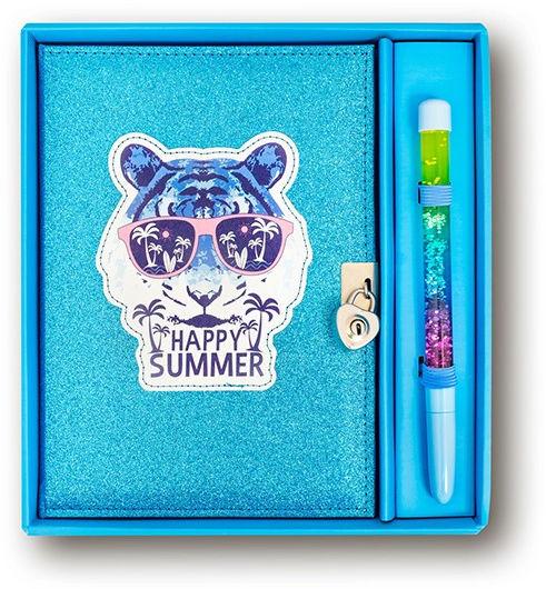 Pamiętnik niebieski brokatowy Tygrys