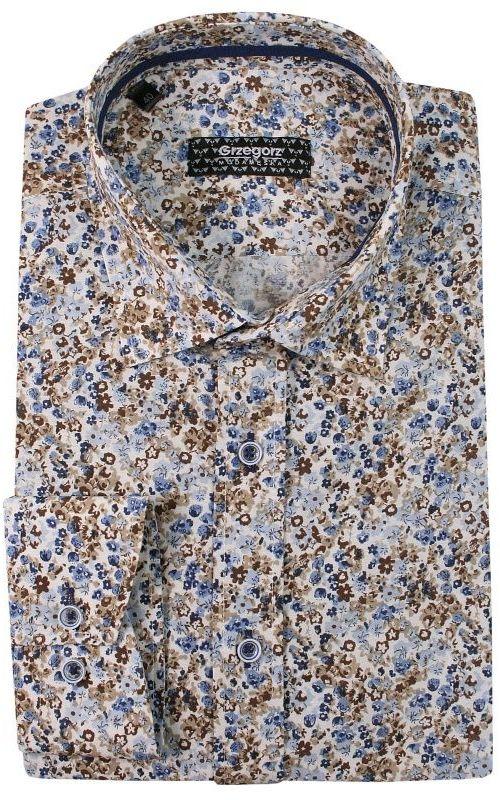 Beżowo-Niebieska Bawełniana Koszula z Długim Rękawem -GRZEGORZ MODA MĘSKA- Taliowana, w Kwiaty KSDWGRZEG0002kwiaty