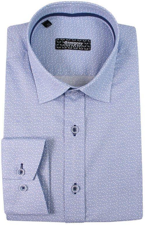 Niebieska Bawełniana Koszula z Długim Rękawem -GRZEGORZ MODA MĘSKA- w Drobny Wzór, Taliowana KSDWGRZEG0001nieb